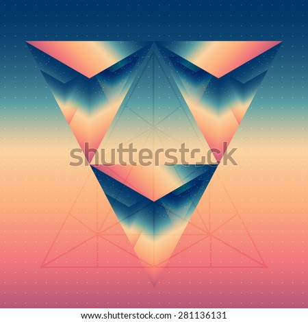 Abstract isometric prism with the reflection of the space and low poly triangles on blurred background. Vector futuristic multifunctional backdrop. - stock vector