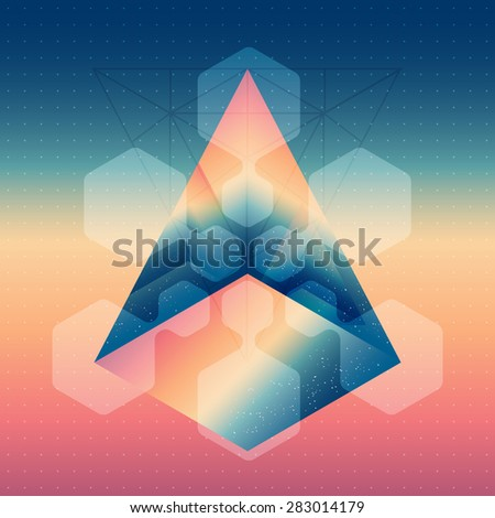 Abstract isometric prism with the reflection of the space and lowpoly triangles on blurred background. Vector futuristic multifunctional backdrop abstract design elements. - stock vector