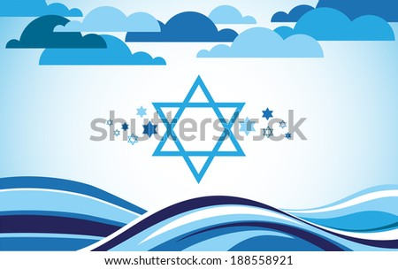 abstract israel flag as sea and blue sky  - stock vector