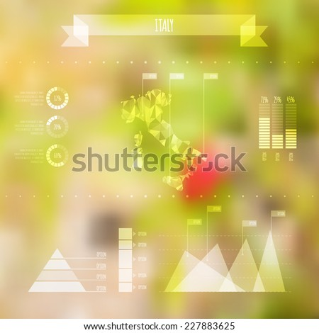 Abstract Italy Map with Infographic Elements on Blurred Background - Vector Illustration - Webdesign Template - stock vector