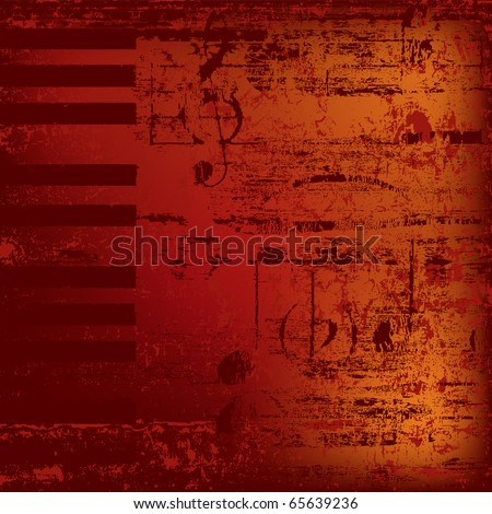 abstract jazz background piano keys on red - stock vector