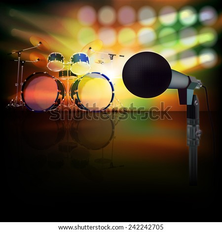 abstract jazz background with drum kit and microphone on music stage - stock vector