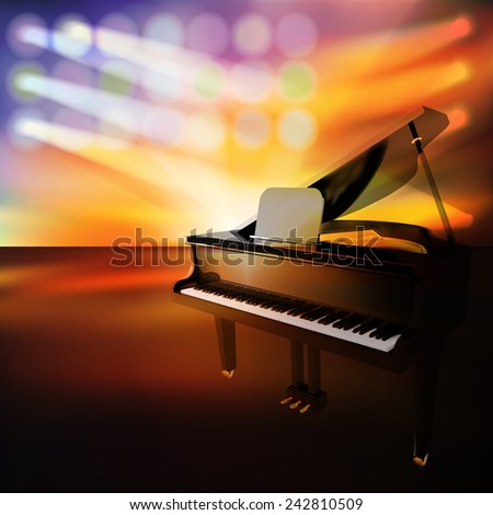 abstract jazz background with grand piano on music stage - stock vector