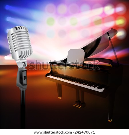 abstract jazz background with piano and retro microphone on music stage - stock vector
