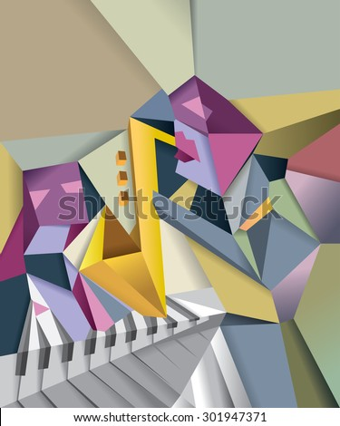 Abstract Jazz Music Art, Cubic Modern Artwork, Jazz Cube,  (Vector Art) - stock vector