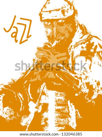 abstract jazz trumpeter - stock vector