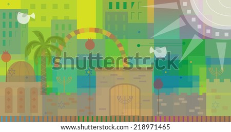 Abstract Jerusalem - Abstract and colorful illustration of old and new Jerusalem. Eps10 - stock vector