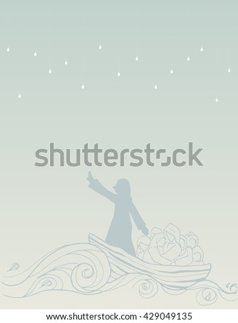 Abstract Jesus Calms the Storm in the boat with his disciples illustration vector art design. - stock vector