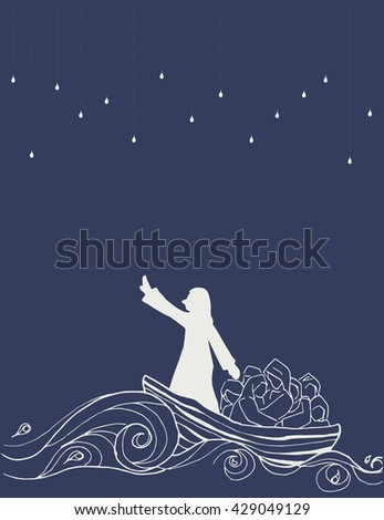 Abstract Jesus Calms the Storm in the boat with his disciples illustration vector art design. faith of Christianity. - stock vector
