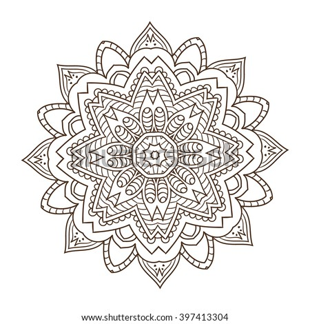 Abstract kaleidoscope ornament round mandala geometric circle kaleidoscope element vector henna tattoo mandala