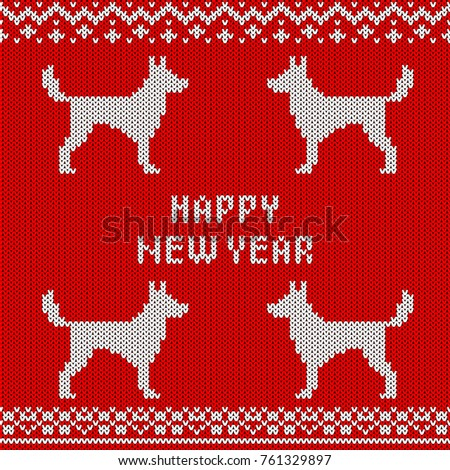 Abstract Knitted Dog Seamless Pattern Background Stock Vector