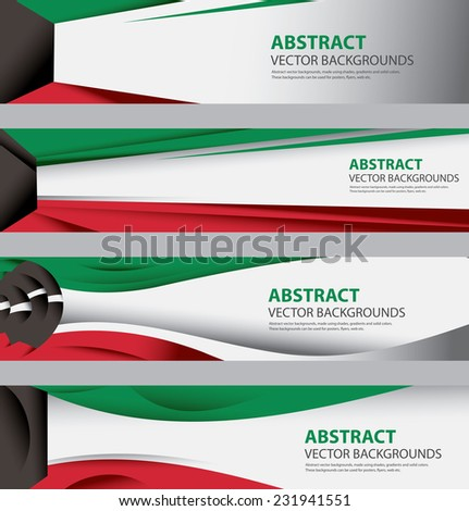 Abstract Kuwaiti Flag Background Collection, Kuwait colors, Info Graphic Templates, Modern and Contemporary Style (Vector Art) - stock vector