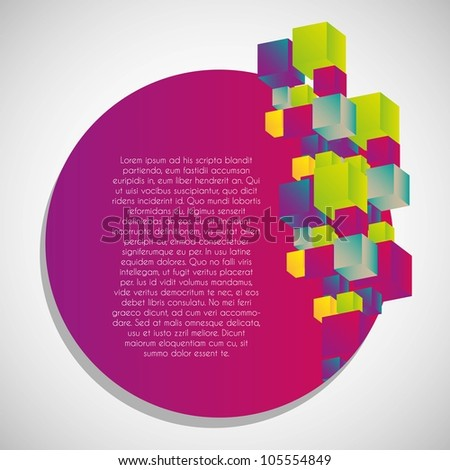 Abstract label of colorful cubes. vector illustration