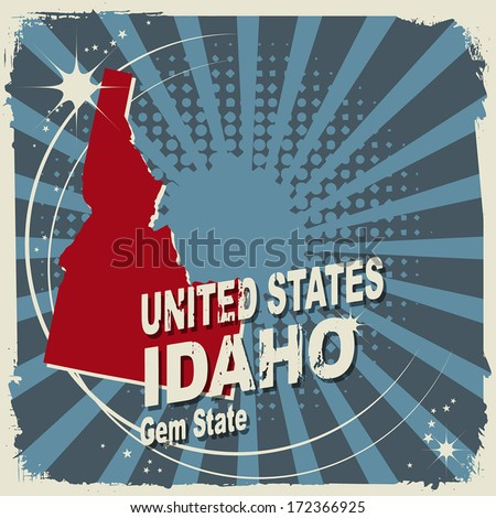Abstract label with name and map of Idaho, vector illustration