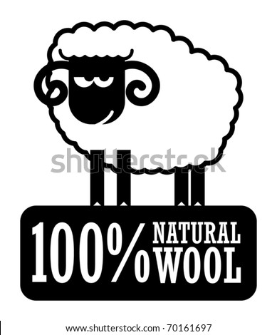 Abstract label with small sheep and the words 100% Natural Wool, vector illustration - stock vector