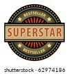 Abstract label with the word Superstar, vector illustration - stock vector
