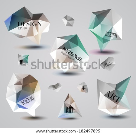 Abstract labels vector set, modern diamond style, design bubbles
