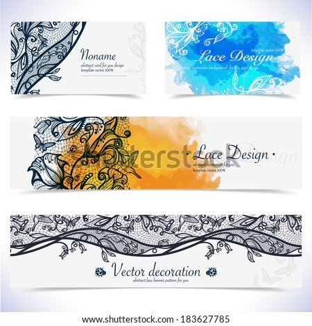 Abstract lace floral banner and visit card. Background pattern with splashes of watercolor. Vector corporate identity.Business set. Identity Design Template  for you.Place for text. - stock vector
