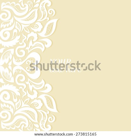 Abstract lace ornament background, wedding invitation or greeting card design, Arabic pattern, beautiful luxury postcard, ornate page cover, vector illustration - stock vector