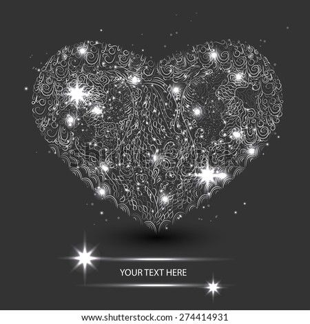 abstract lacy silver heart. Template for your greeting card - stock vector