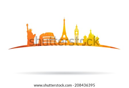 Abstract landmarks - stock vector