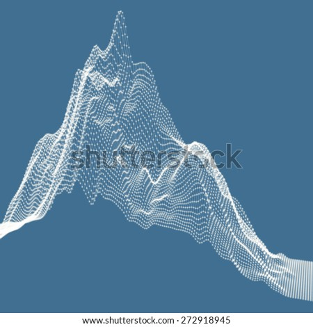 Abstract landscape background. Cyberspace grid. Vector illustration. Can be used for banner, flyer, book cover, poster. - stock vector