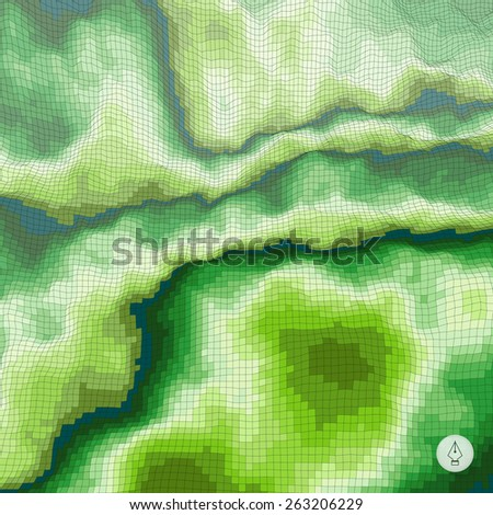 Abstract landscape background. Mosaic. 3d technology vector illustration. Can be used for banner, flyer, book cover, poster, web banners. - stock vector