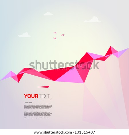Abstract Landscape Design Vector Background With Colorful Rocks Flying Origami Birds And Clouds