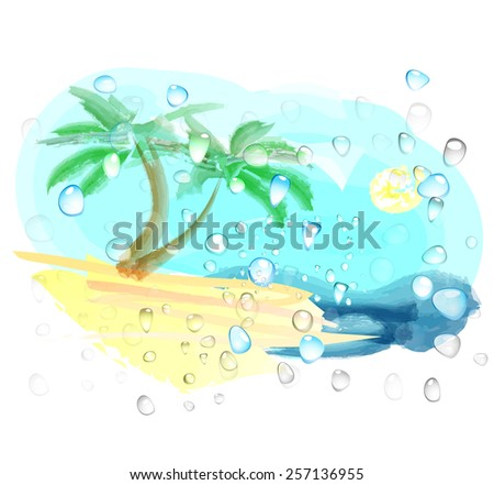 Abstract landscape with beach and sea  - stock vector