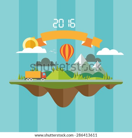abstract landscape with travel concept delivery of goods or products
