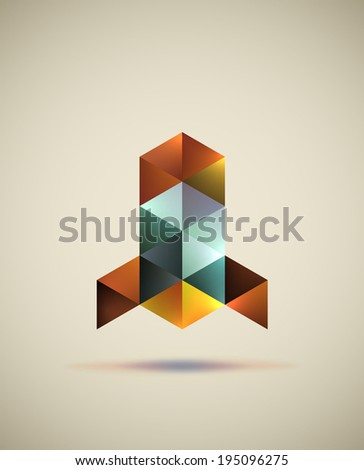 Abstract launching rocket symbol formed with colored triangles. EPS10 vector image. - stock vector