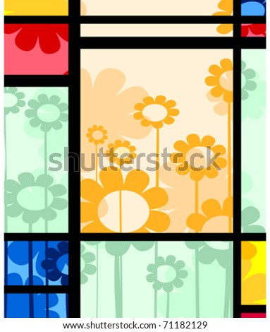 Abstract layout with floral arrangement, vector. - stock vector