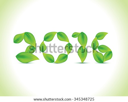 abstract leaf based new year text vector illustration - stock vector