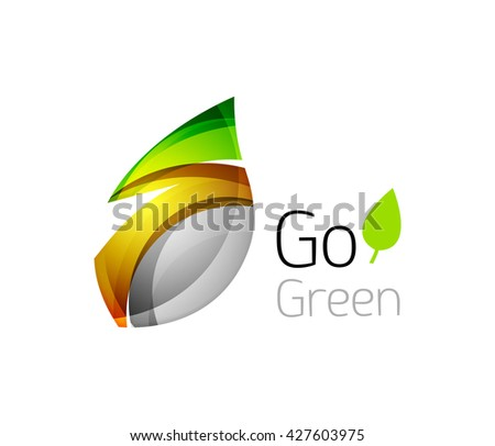 Abstract leaf icon. Eco nature geometric logo. Vector illustration - stock vector