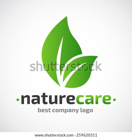 Abstract leafs care vector logo icon. Eco icon with green leaf - stock vector