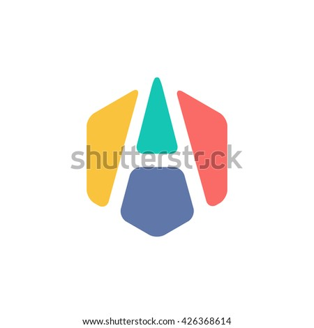 Abstract Letter Hexagon Symbol Colorful Creative Stock Vector