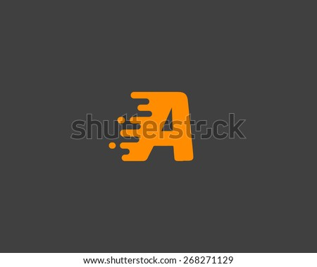 Abstract letter A logo design template.  Dynamic vector unusual font. Universal fast speed fire moving water quick energy drop icon. - stock vector