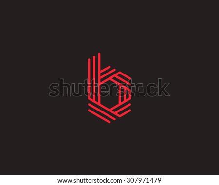 Abstract Letter b logo design template. Line vector symbol. Premium elegant sign mark icon - stock vector