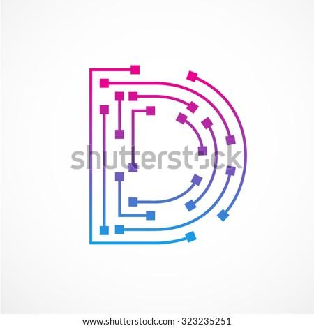 Abstract letter D logo design template,technology,electronics,digital,dot connection cross vector logo icon logotype - stock vector