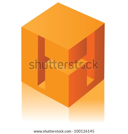 Abstract Letter H Cube Symbol Icon EPS 8 vector, grouped for easy editing. No open shapes or paths. - stock vector