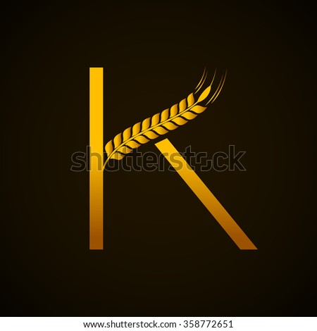 Abstract letter K logo design template with Ears of Wheat,Rice,Vector Illustration