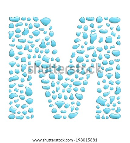 abstract letter m created with water drops - stock vector