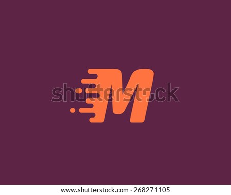 Abstract letter M logo design template.  Dynamic vector unusual font. Universal fast speed fire moving water quick energy drop icon. - stock vector