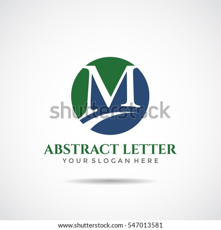 abstract letter m logo template green stock vector