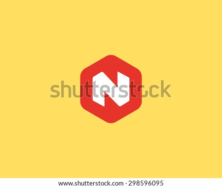 Abstract letter N logo design template. Colorful creative hexagon sign. Universal vector icon. - stock vector