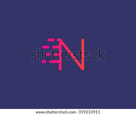 Abstract letter N logo design template.  Dynamic vector unusual line font. Universal fast speed fire moving water quick energy drop icon symbol mark. - stock vector