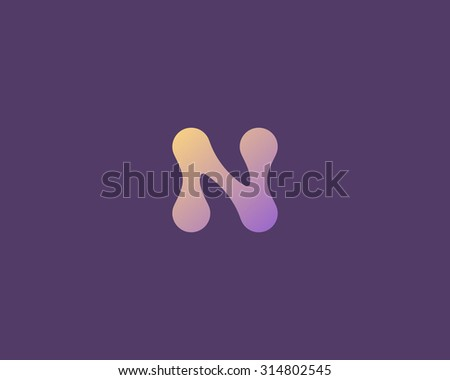Abstract letter N logo icon vector design. Universal colorful biotechnology molecule atom dna chip symbol. Medicine, science, technology, laboratory, electronics logotype. - stock vector