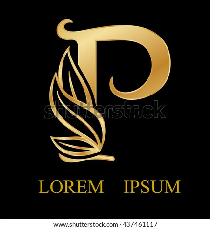 Abstract Letter P Logo DesignGold Beauty Industry And Fashion Logocosmetics Business