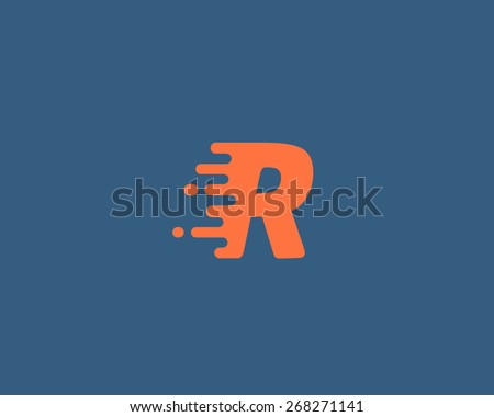 Abstract letter R logo design template.  Dynamic vector unusual font. Universal fast speed fire moving water quick energy drop icon. - stock vector