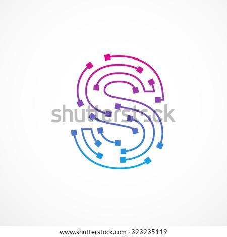 Abstract letter S logo design template,technology,electronics,digital,dot connection cross vector logo icon logotype - stock vector